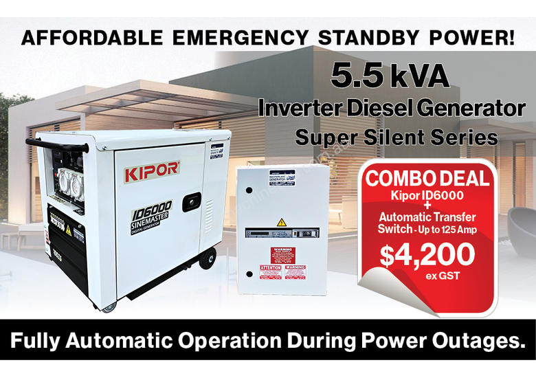 5.5kVA Kipor Inverter Generator plus ATS up to 125 Amp