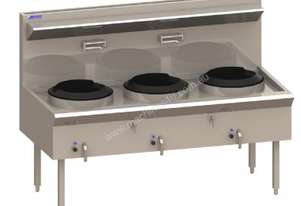 Luus WL-3C Waterless Wok with 3 Chimney Burners & 340mm Ring (Natural Gas or LPG) Asian Series