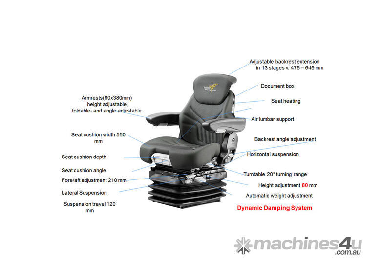 Grammer Seat Maximo Dynamic 12V for Agriculture with 12V Air Suspension