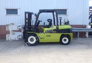 Clark C50SL LPG Forklift with  Paper Roll Clamp