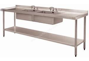 Vogue Double Bowl Sink Double Drainer 2400mm