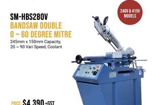 245mmx 150mm Variable Speed Double Mitre Bandsaw 240V & V In Stock