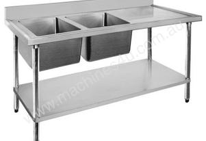 F.E.D. 1500-7-DSBL Economic 304 Grade SS Left Double Sink Bench 1500x700x900 with 400 and 500x400x25
