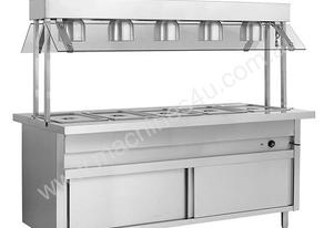 F.E.D. BSL5H Heated 5 Pan Servery Bain Marie w/Top Lamp Warmers & Storage Cabinet
