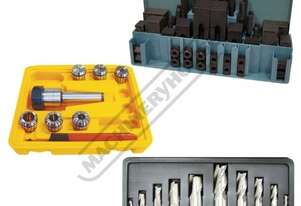 3MT Mill-Drill Accessory Package Deal - Metric Cutters Includes 3MT Collet Chuck Set, Clamp Kit, End