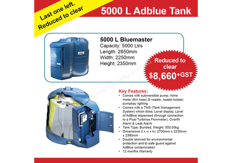 5000 Litre Bunded AdBlue Dispensing Tank with tank monitoring