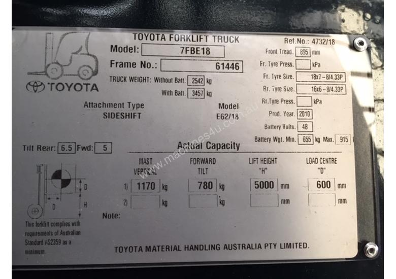 TOYOTA 7FBE18 5000FSV 2010 NEW BATTERY