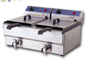 TWIN COMMERCIAL DEEP FRYER - ELECTRIC 20L W/ TAPS