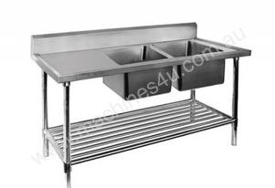 F.E.D. 1500-7-DSBR Economic 304 Grade SS Right Double Sink Bench 1500x700x900 with 400 and 500x400x2