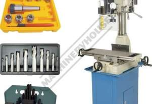 HM-32 Mill Drill Machine Package Deal (X) 540mm (Y) 190mm (Z) 410mm Includes Metric Cutters, Clamp K