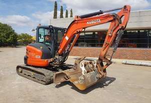 USED 2016 KUBOTA U55-4 EXCAVATOR WITH FULL CAB, HITCH, BUCKETS AND CIVIL SPEC