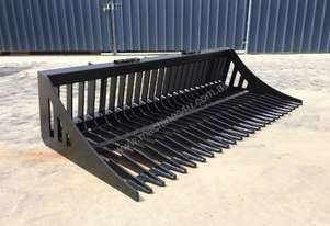 UNUSED SKID STEER 1980MM FLAT BAR RAKE BUCKET