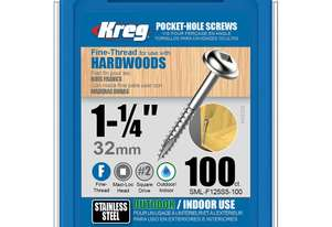 Kreg Pocket Screws 1-1/4 Fine Thread Stainless Steel - 100pc