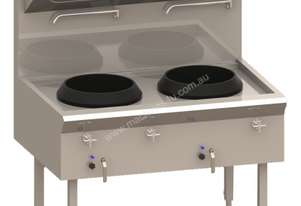 Luus WL-2C Waterless Wok with 2 Chimney Burners & 340mm Ring (Natural Gas or LPG) Asian Series