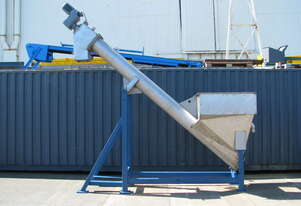 Large Centreless Stainless Steel Hopper Feeder Auger Screw Conveyor - 4m Long