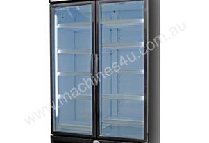 Sanden SPU-1253B Black Double Door Display Fridge w/EMS & LED