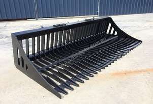 UNUSED SKID STEER 2150MM FLAT BAR RAKE BUCKET