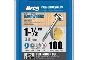 Kreg Pocket Screws 1-1/2 7g Fine Thread - 100pc