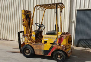 Used Mitsubishi FG15 1.5 tonne forklift petrol 3000mm lift height container entry mast