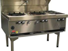Goldstein CWA2B2 Air Cooled Gas Wok - Double with Side Burners - picture1' - Click to enlarge