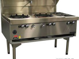 Goldstein CWA2B2 Air Cooled Gas Wok - Double with Side Burners - picture0' - Click to enlarge