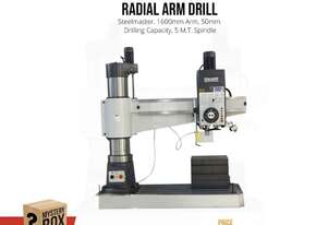 1600mm Arm Heavy Duty Industrial Radial Drill - 5MT Power Arm Up & Down