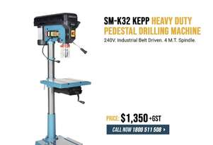 Industrial Pedestal Drill - Belt Drive, Reverse Vice, LED Lamp