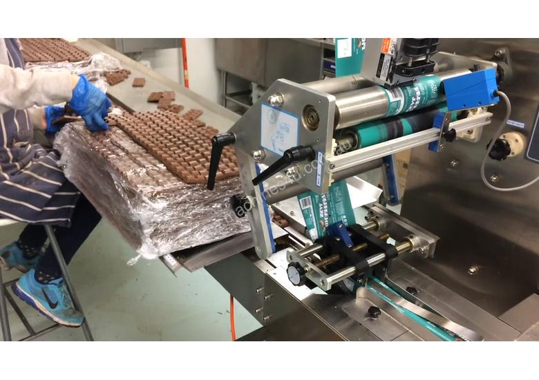 Flamingo Stainless Steel Horizontal Flow Wrapper Packing Machine + Anser U2 Pro-S label/date printer