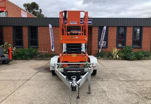 USED DINGLI E-TECH S0812-E  ELECTRIC SCISSOR LIFT AND 3.5T BULLANT TRAILER PACKAGE