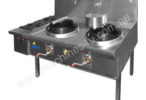 F.E.D. 3WOK12/14OBL - TRIPLE WATERLESS GAS WOK with 2 side burners on left