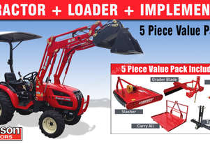 Branson 2900H - 28HP Sub Compact Tractor with 4 in 1 loader and 5 Piece Implements Pack