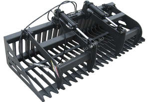 NEW : RAKE GRAPPLE GRAB BUCKET SKID STEER TRACK LOADER ATTACHMENT FOR HIRE