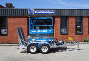 USED / REFURBISHED GENIE 2008 GS-1932 ELECTRIC SCISSOR LIFT TRAILER PACKAGE