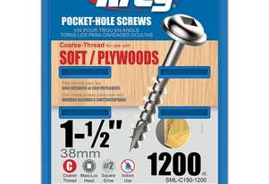Kreg Pocket Screws 1-1/2 Coarse Thread - 1200pc