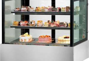 F.E.D. SSU90-2XB Black Trim Square Glass Cake Display 2 Shelves 900x700x1100