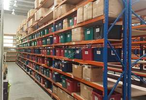 Used 3.6m High Long Span Racking Shelving With Boards And Tubs 3600 x 450