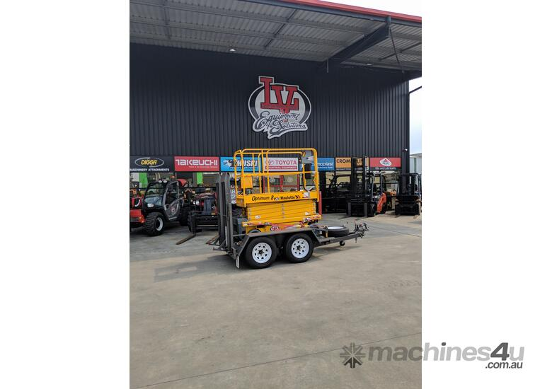 RENTAL 8 METER ELECTRIC SCISSOR LIFT ON TRAILER