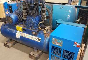 PILOTAIR K50 7.5Kw 10hp INDUSTRIAL PISTON AIR COMPRESSOR + AIR DRYER