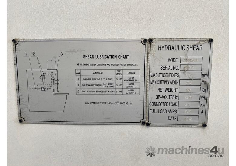 Machtech 6x3200 Variable Rake Hydraulic Guillotine