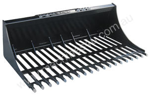 NEW HIGH QUALITY EXTREME DUTY SKID STEER ROUND BAR RAKE BUCKET