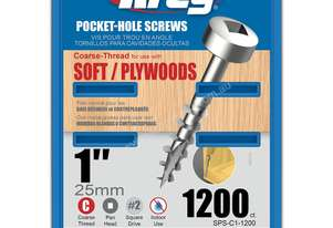 Kreg Pocket Screws 1 7g Coarse Thread Pan Head - 1000pc
