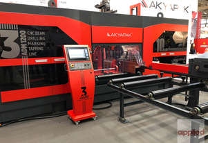 NEW Akyapak 3ADM-1200 10 Axis, 3 spindle CNC Beam Drilling Line ... **STRUCTURAL STEEL**