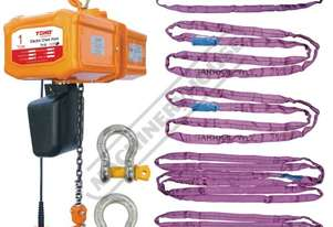 TECH0103 Electric Chain Hoist Package Deal 1 Tonne x 3 Metre Lift, 6m/min. Lift Speed Includes 12 Sl