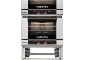 Turbofan E27D3/2 - Full Size Digital Electric Convection Ovens Double Stacked on a Stainless Steel B