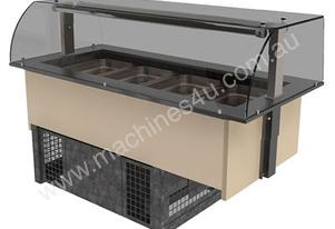FPG GNC04-GT-SO-C Refrigerated GN Servery with Optional Gantry and Curved Serve Over Glass - 4 Pan
