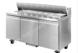 F.E.D. SLR180 Three Door 9 x 1/3 Pans Sandwich Bar Fridge