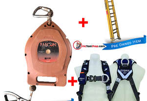 Branach Extension Ladder 4.6 to 7.6m Fibreglass, Exofit Safety Harness and Fall Arrestor