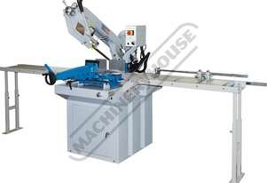 EB-330DSC Swivel Head-Dual Mitre Metal Cutting Band Saw with Conveyor System 295 x 230mm (W x H) Rec