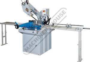 EB-330DSC Swivel Head-Dual Mitre Metal Cutting Band Saw with Conveyor System 2 Blade Speed 36 - 72mp