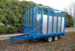 Tandem Flatbed Trailer with Stock Crate and Hoist